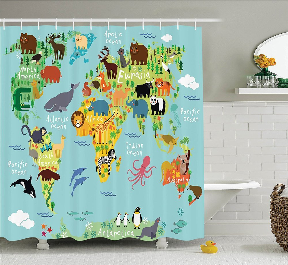 Wanderlust Decor Collection Animal Map of the World for Children and Kids Cartoon Mountains Forests Image Polyester Fabric Bathroom Shower Curtain Set with Hooks Green Yellow Blue