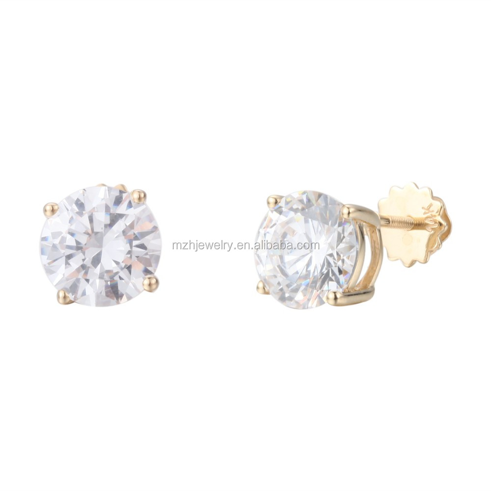 gold products stud earrings genuine in princess prong white diamonds cut diamond