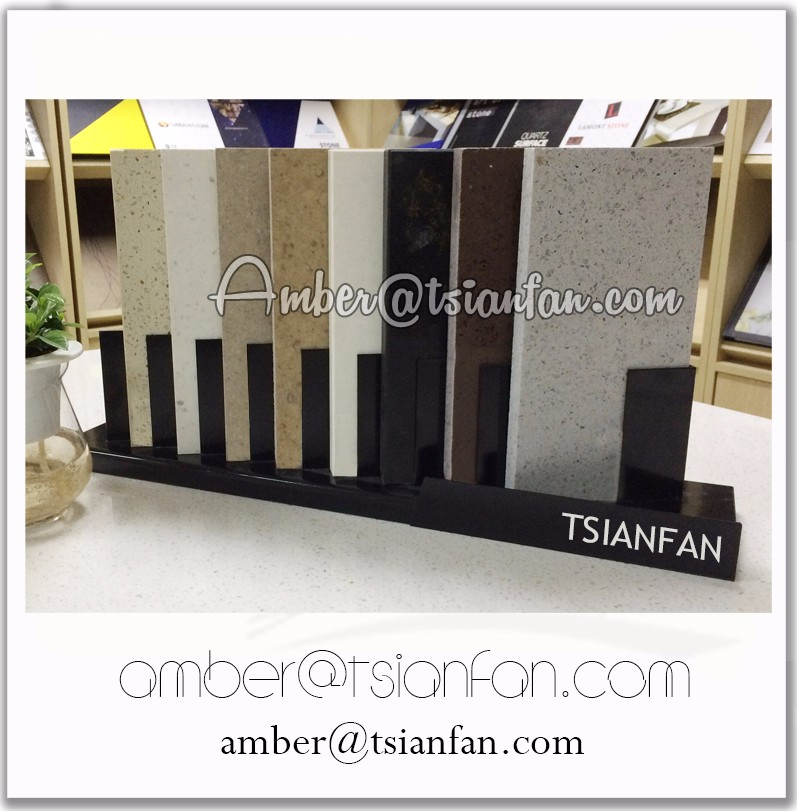 SR012 Metal Quartz Stone Sample Conter Stand, Solid Surface Tabletop Stand