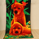 Extra light microfiber cartoon dogs printed children bath towel, beach towel