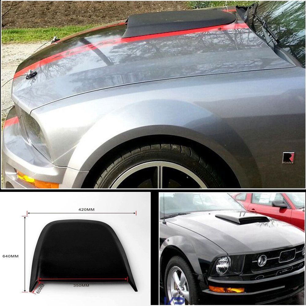 For 2005 2009 ford mustang gt v8 racing hood scoop black