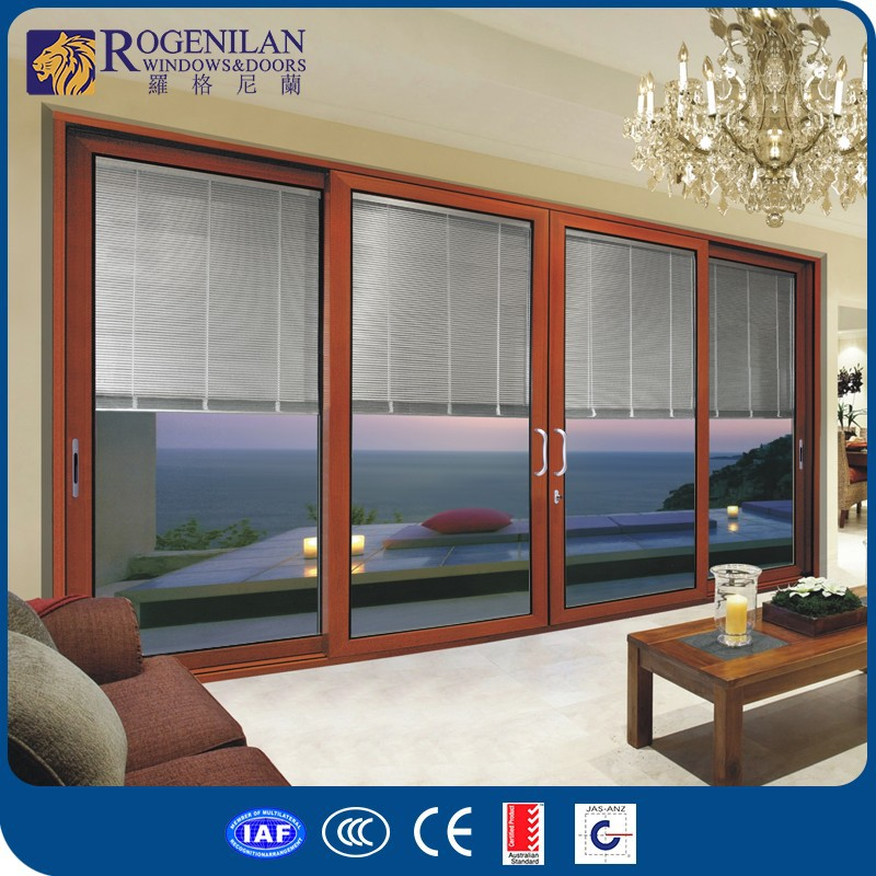 ROGENILAN 120# 4-panel sliding balcony exterior metal lowes french doors exterior with auto blinds