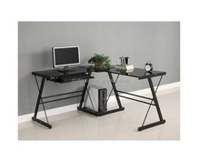 simple latest glass office table design for corner home office