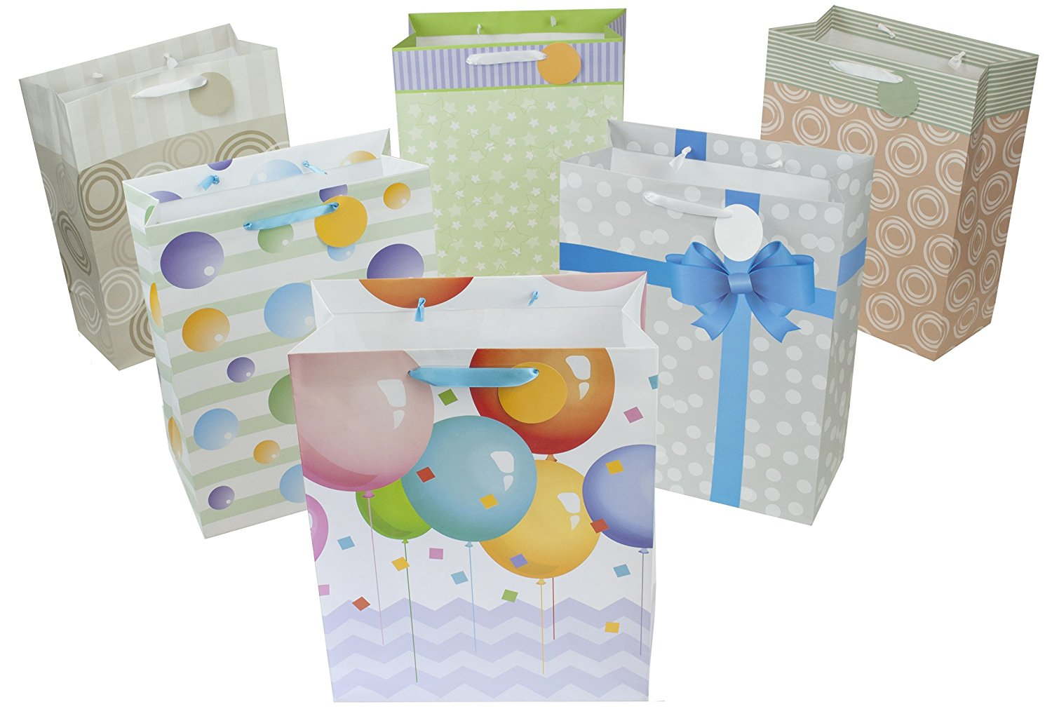 "12 Large Designer Gift Bags 16""Lx12""Wx6""D, Best Value Assorted Designs by Heart Paper Products"