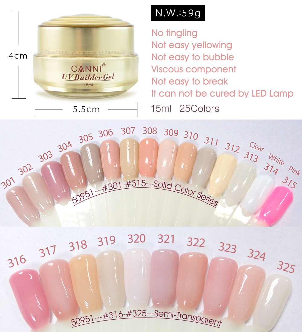 50951 Extending Nail Gel CANNI Nail Art 25 Natural Colors French ...