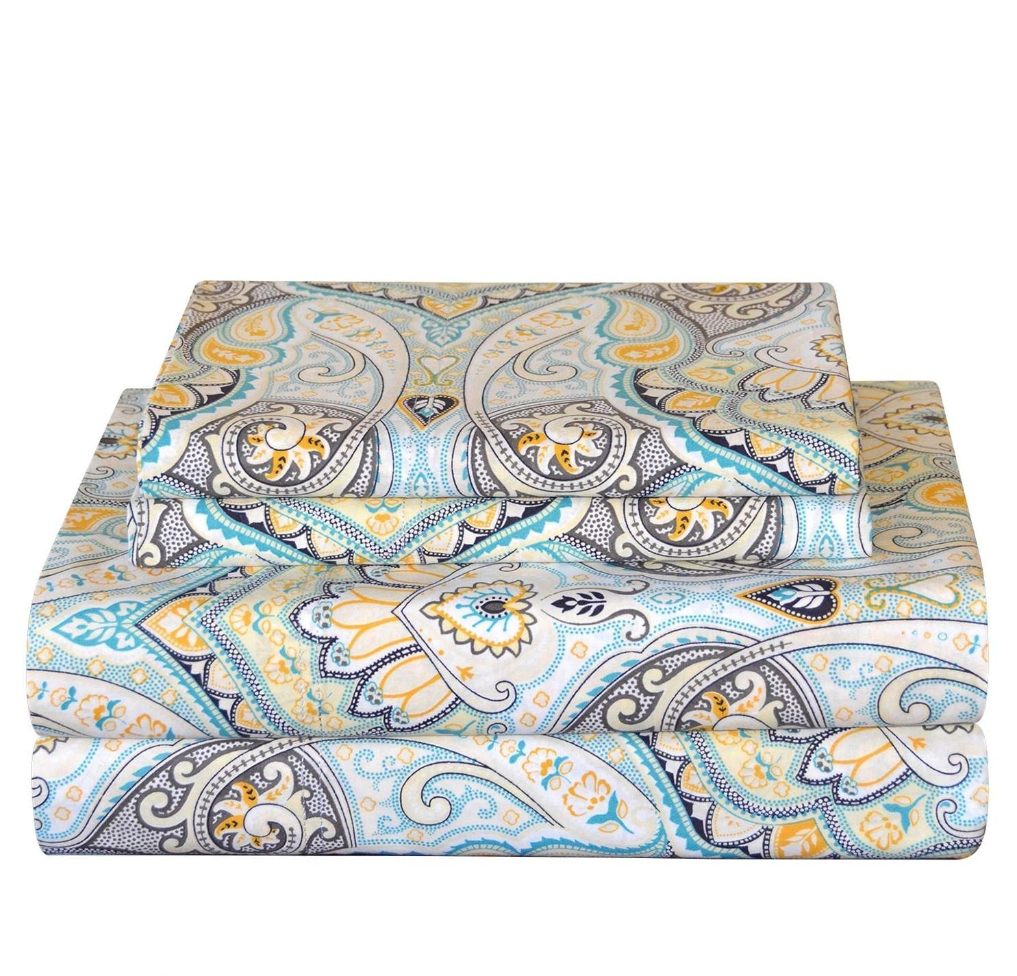 OSK 4 Piece Girls Cypress Blue Yellow Paisley Sheet Full Set, Light Blue Color Floral Bohemian Pattern Kids Bedding For Bedroom, Modern Contemporary Flower Motif Teen Themed, Cotton Percale