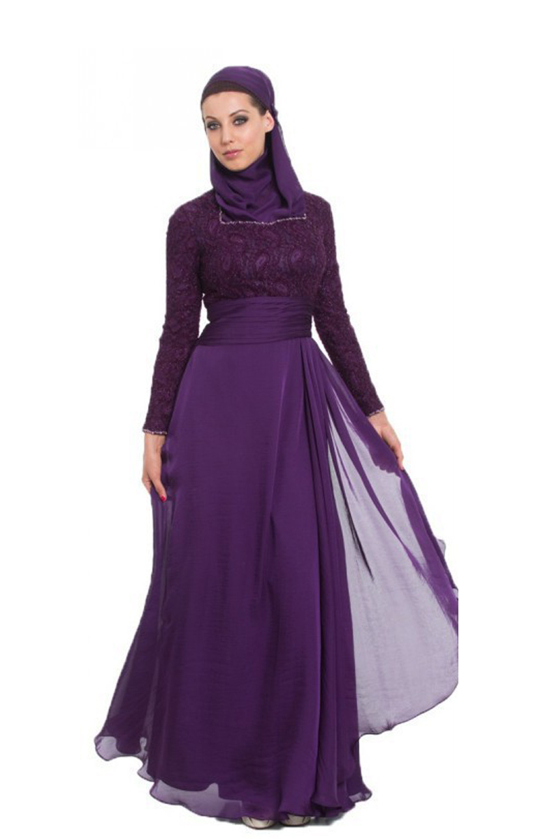 f29a825be84 Get Quotations · Vintage A Line purple muslim long dress Long Sleeve Arabic muslim  hijab dress arabic evening gowns