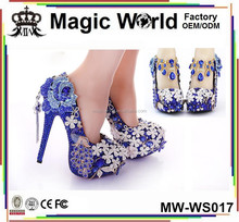 12CM Luxury ROYAL Blue High Heel Wedding Bridal Crystal Shoes