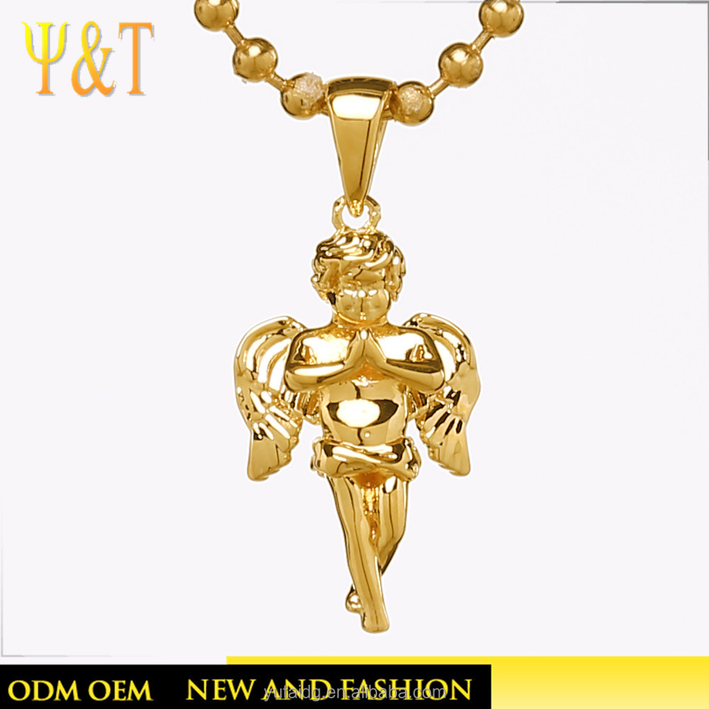 Jingli Jewelry Chaste Praying Little Angel Shaped Gold Copper Pendant Without Stone(YJ-0094)