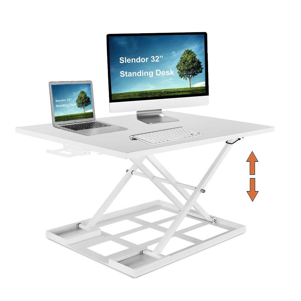 """Slendor Standing Desk Converter Sit Stand Desk 32"""" x 22"""" Extra Large Desktop Ergonomic Height Adjustable Converter Air Riser Gas Spring Workstation Easy Lift"""