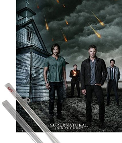 1art1 Poster + Hanger: Supernatural Mini Poster (20x16 inches) Dean, Sam, Castiel and Crowley and 1 Set of Transparent Poster Hangers