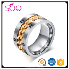 Factory price wholesale trendy charm gold screw chain personalized jewelry rings lots