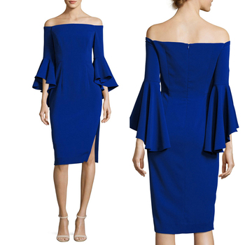 2e35ef4a8775 3 4 Ruffle Sleeve Elegant Evening Dresses Off Shoulder Tight Dress Name