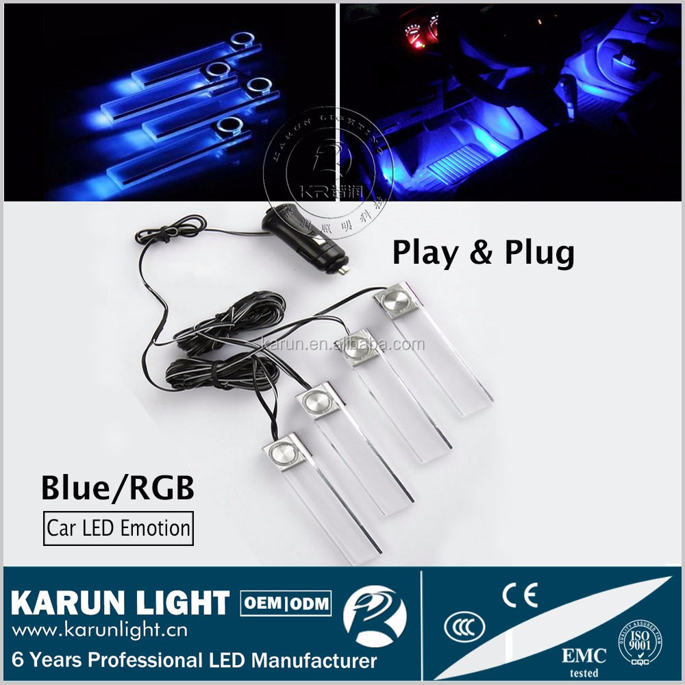 2016 Play & Plug Decoration light Blue/ RGB car cigarette lighter socket led atmosphere lamp