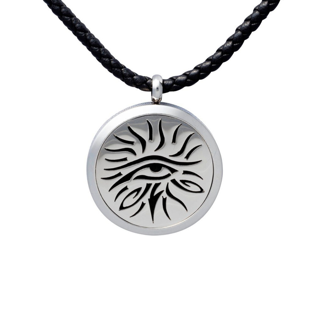 Wholesale Stainless Steel Eye Of Knowledge Jewelry Elegant Essential Oil Diffuser Pendant Necklace