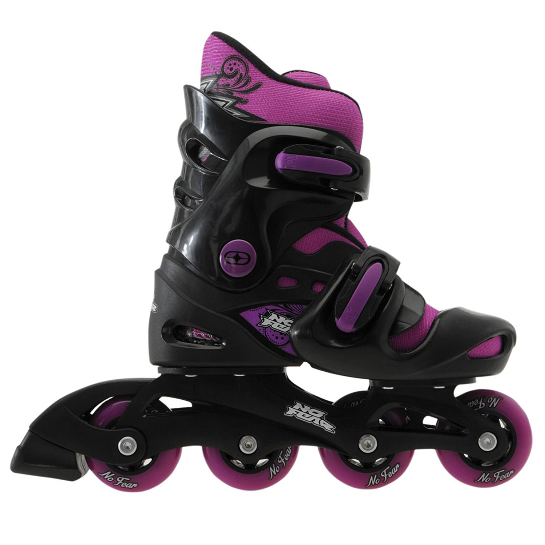 No Fear Kids Girls Inline Skates Removable Sock Shoes