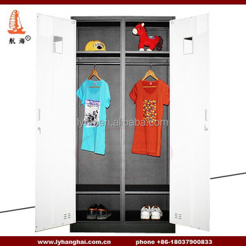 Indian Designer 2 Door Armoire Bedroom White Iron Steel Almirah Wardrobe  For Clothes