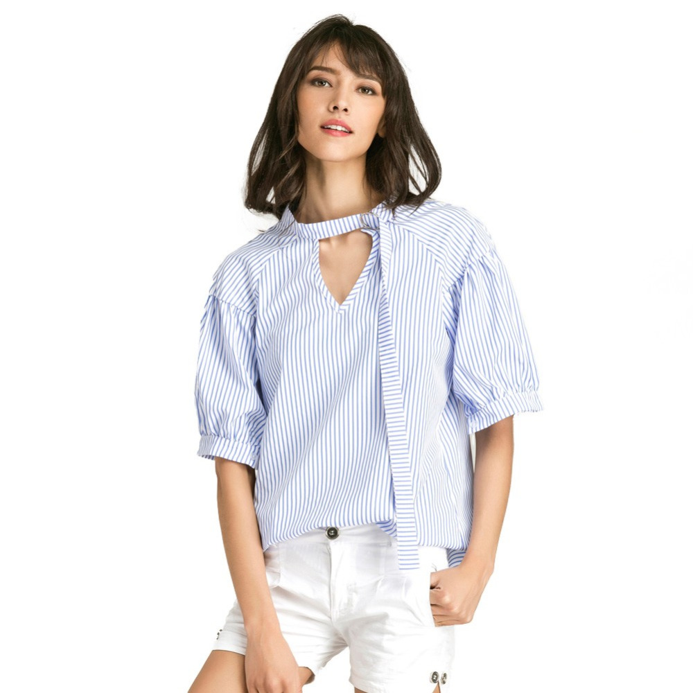 Women Big Size Blouse Solid Color Stripe Print V Puff Raglan Sleeve Oversized Casual Tops White/Blue