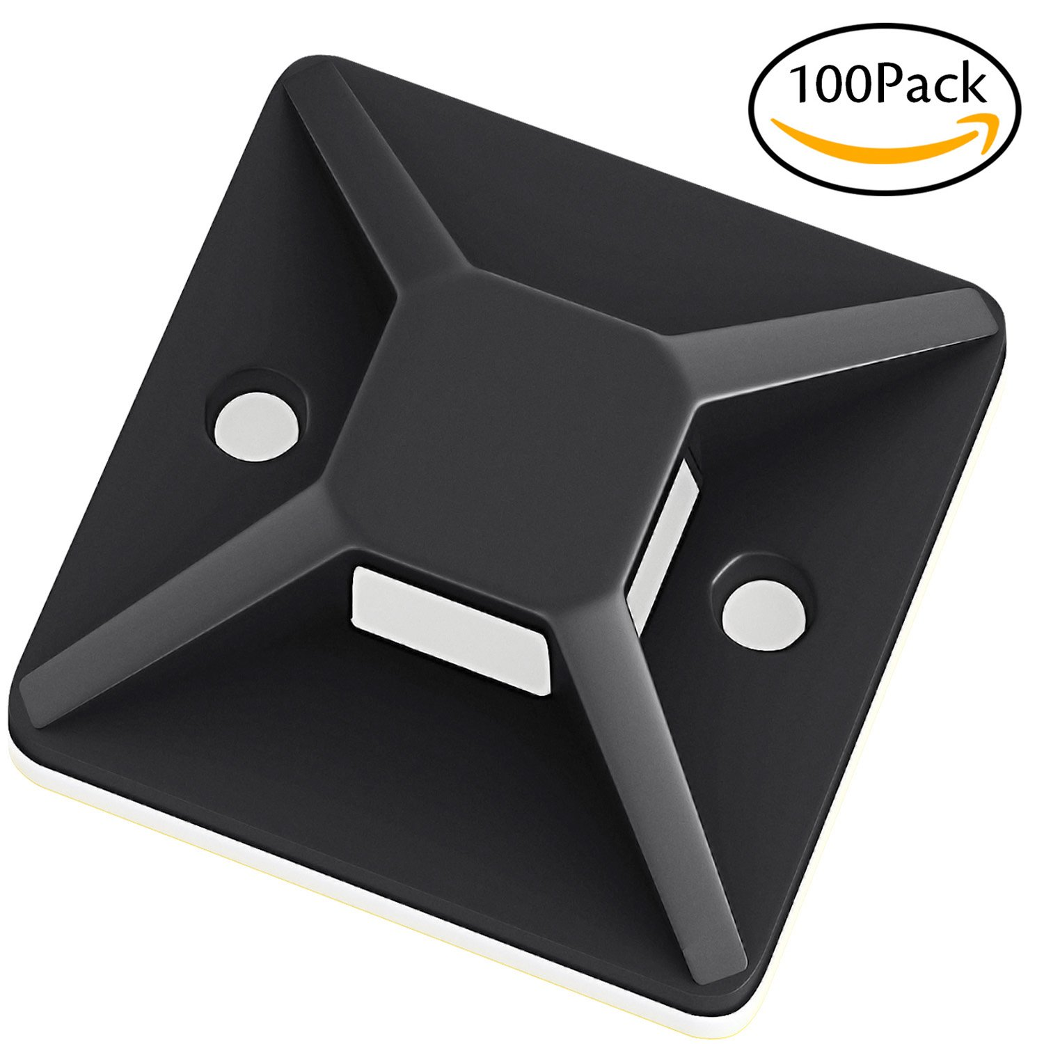 Darller 100 Pack Self Adhesive Cable Tie Mounts Wire Tie Base Holders (25mm x 25mm, Black) - Screw-Hole Anchor Point Provides Optimal Strength for Long