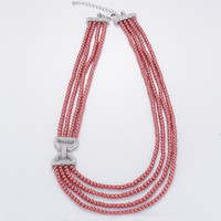 Elegant Ladies Wedding Jewelry 4 Strands Red Pearl Bead Necklace