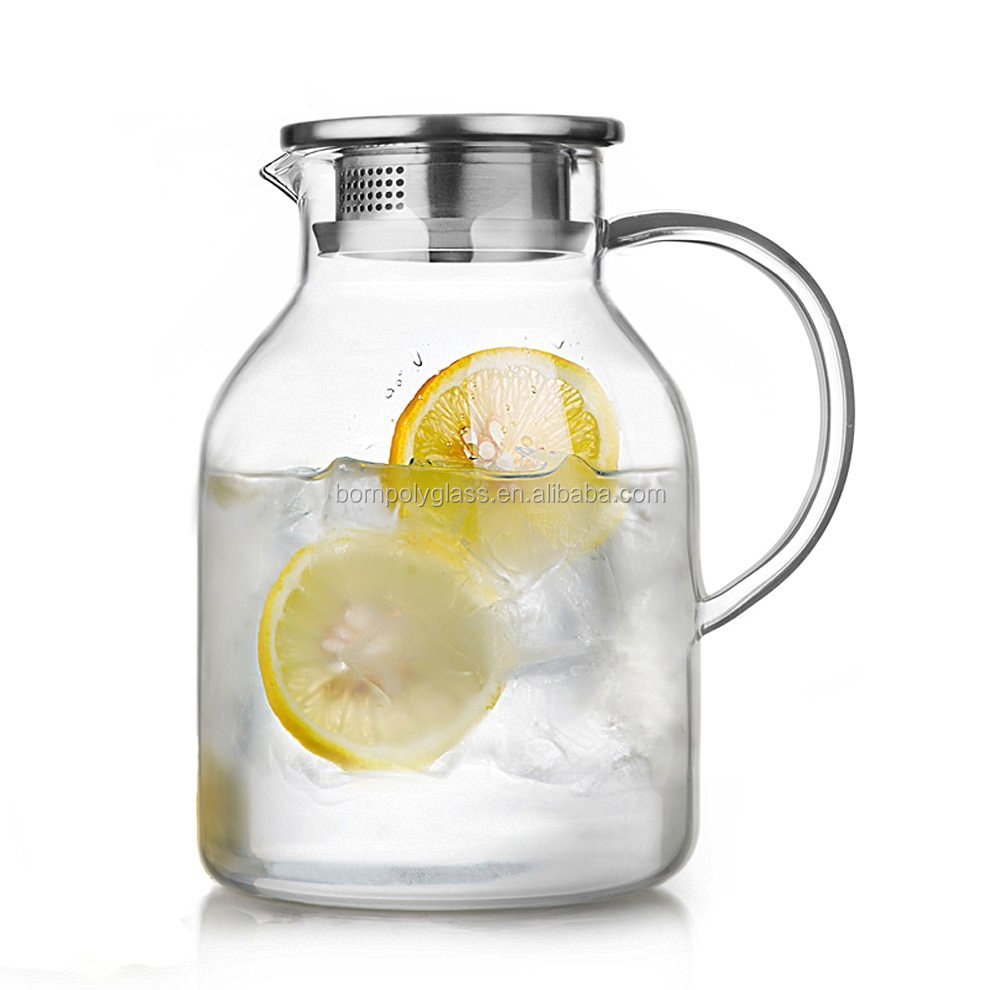 68 Ounces Glass Pitcher With Lidlarge Water Jug For Hotcold Water