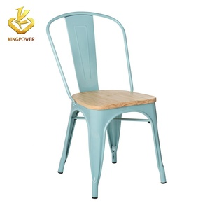 Powder coating metal chairs steel metal restaurant chair Indoor Outdoor Stackable Bistro Cafe Chairs with Wood Seat