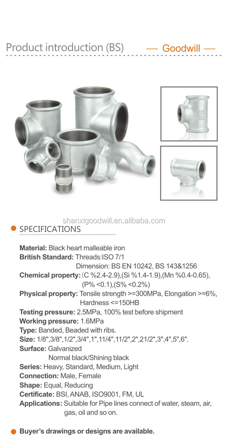 Galvanized water malleable iron pipe fittings buy