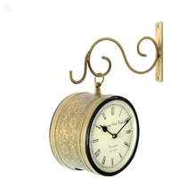 Double Sided Railway Station & Bus Station Clock, Brass embossed Double Side Station Wall Clock, Item number Sai-1337