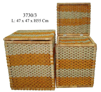 Artex Thang Long Whole Large Rectangular Seagr Storage Baskets With Lids Stackable