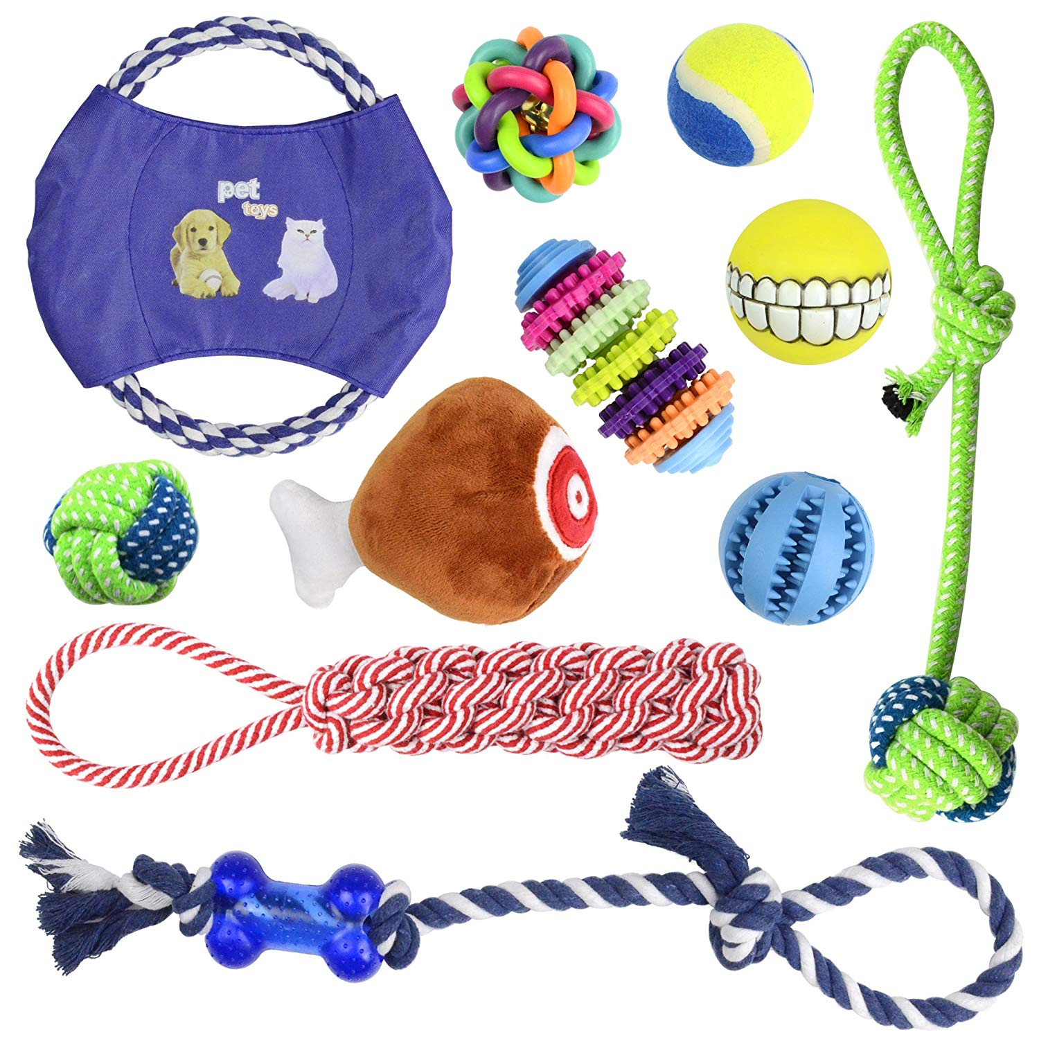 Whoobee Dog Chew Toys Cotton Rope Chew Toys Squeaky Plush Toys Puppy Teething Toys for Small Medium Large Dog,Durable and Washable Dog Dental Chew Toys