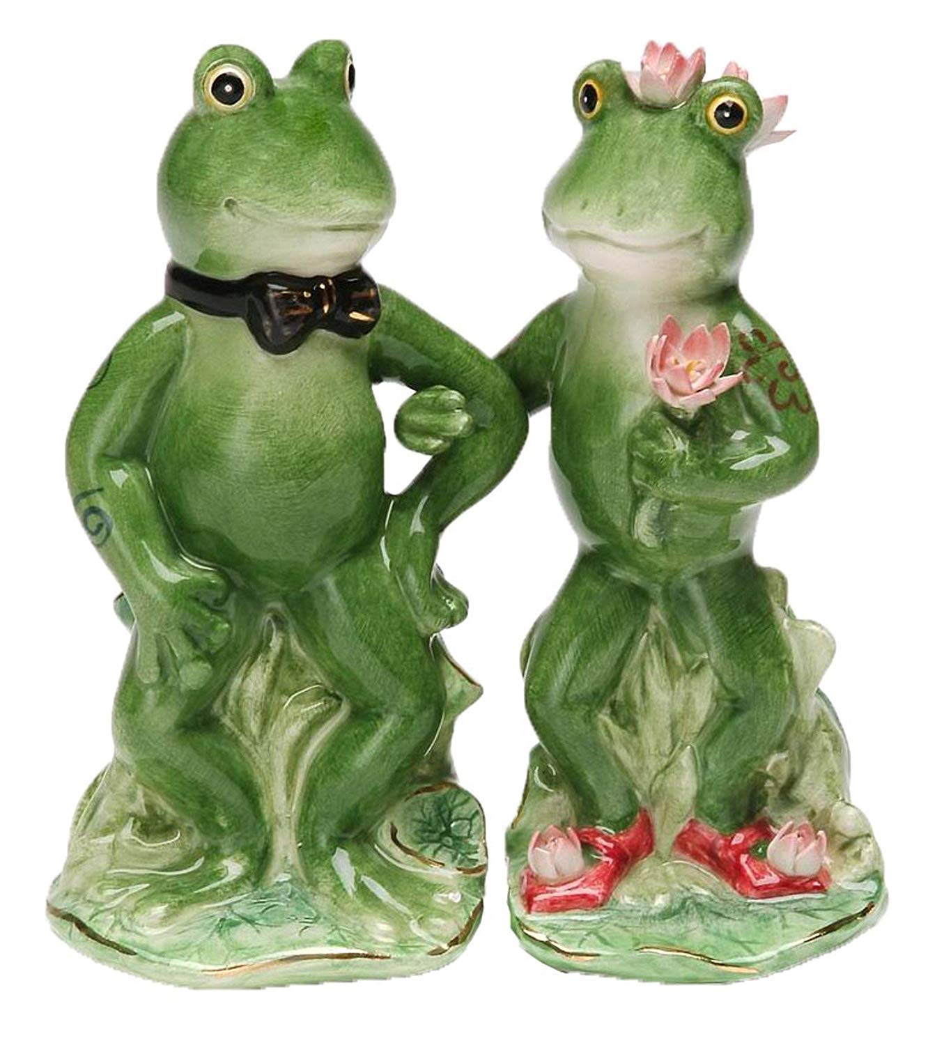 """4.5 Inch Bride and Groom """"Alfrogo & Frogalina"""" Salt and Pepper Shakers"""