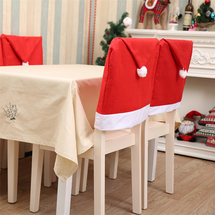 Factory Christmas Decoration Big Santa Hat For Chairs Hat Cover