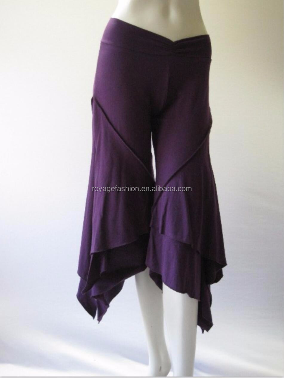 Hot sale Sexy Bell Bottoms Belly dance capri Pants ladies bell bottom ruffle pants