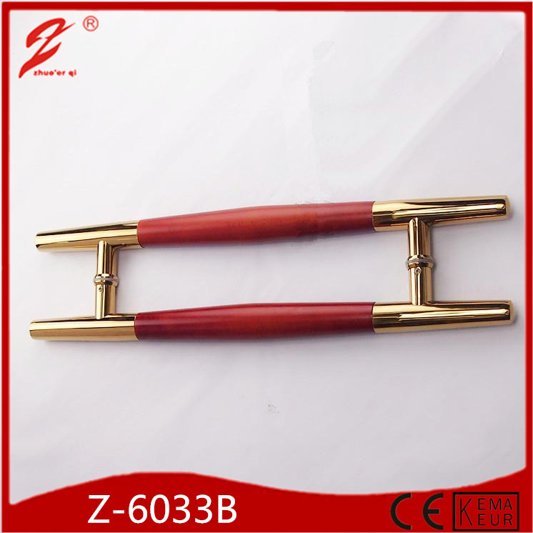 Hot sale zhuoerqi new modern rose gold solid round wood door handle