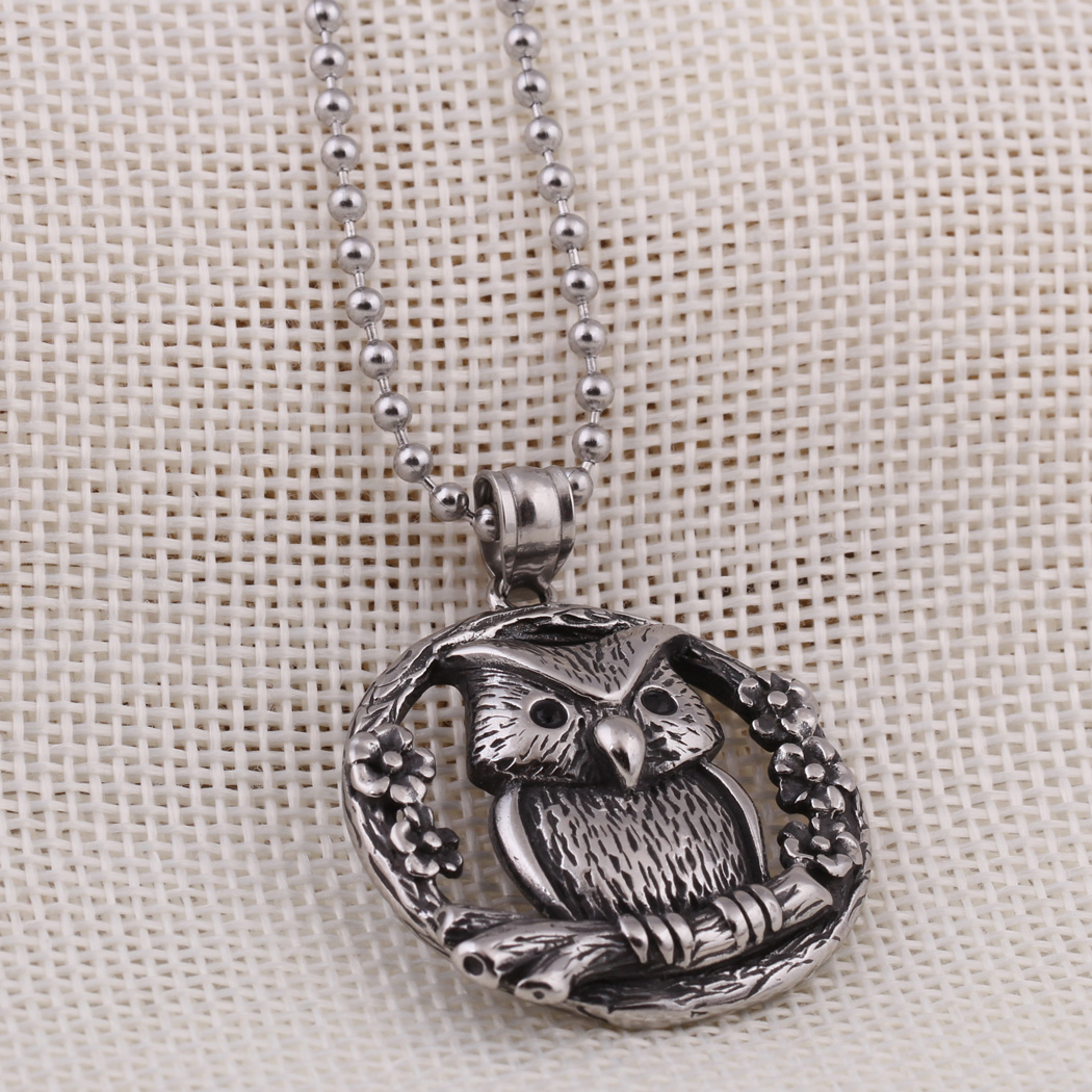 Vintage  Pendant Black/Red Crystal Channel Stainless Steel chain OWL Pendant Necklace for Men