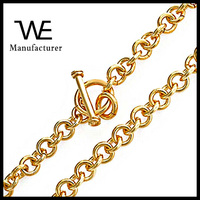 Gold Vermeil Toggle Clasp Round Flat Chain Links Charm Necklace