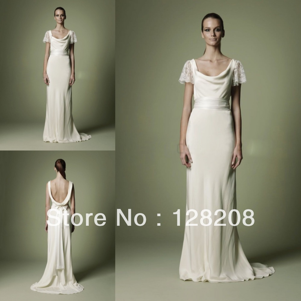 Vintage 40 S Style Wedding Dresses: 1940S Style Vintage Wedding Dress Backless Bow Sweep Train