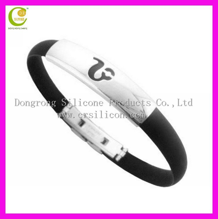 New products silicone bracelet with metal decorate