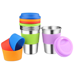 14OZ Kids Stainless Steel Cup With Silicone Lid and Straws/ Silicon Lid for Cup