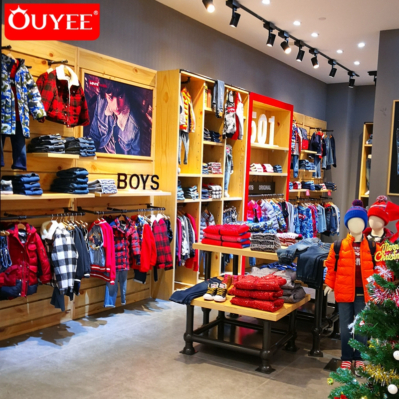 6cc4df27e جديد نمط خشبية الطفل محلات الملابس ، الملابس متجر الداخلية تصميم في الصين