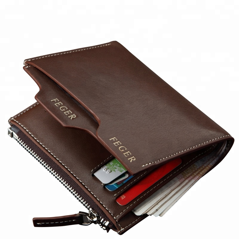 Wholesale custom brand short style leather wallet for <strong>men</strong> travel bifold