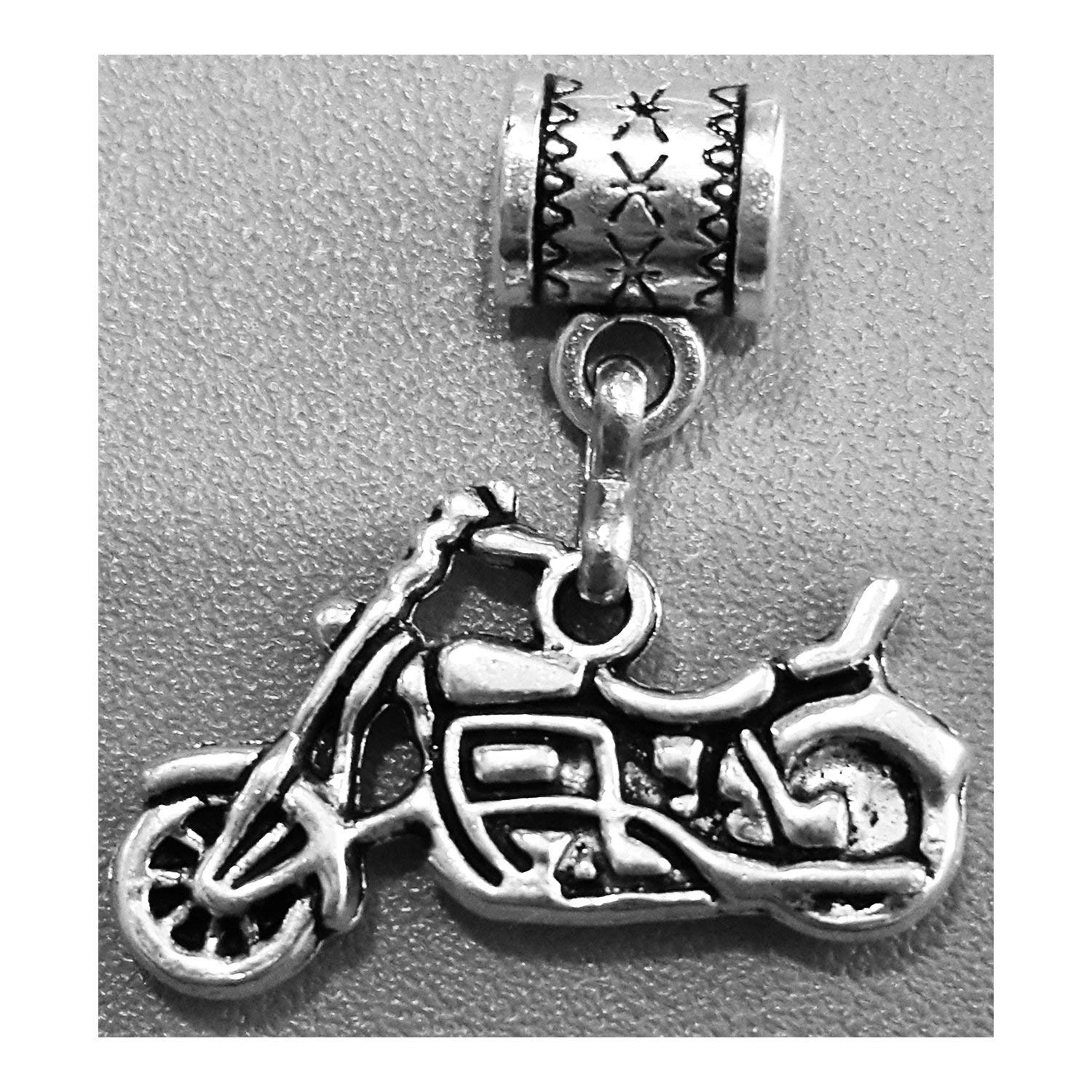 """Motorcycle charm"" in antique silver by Mossy Cabin for modern large hole snake chain charm bracelet, or add to a neck chain, pendant necklace or key chain"