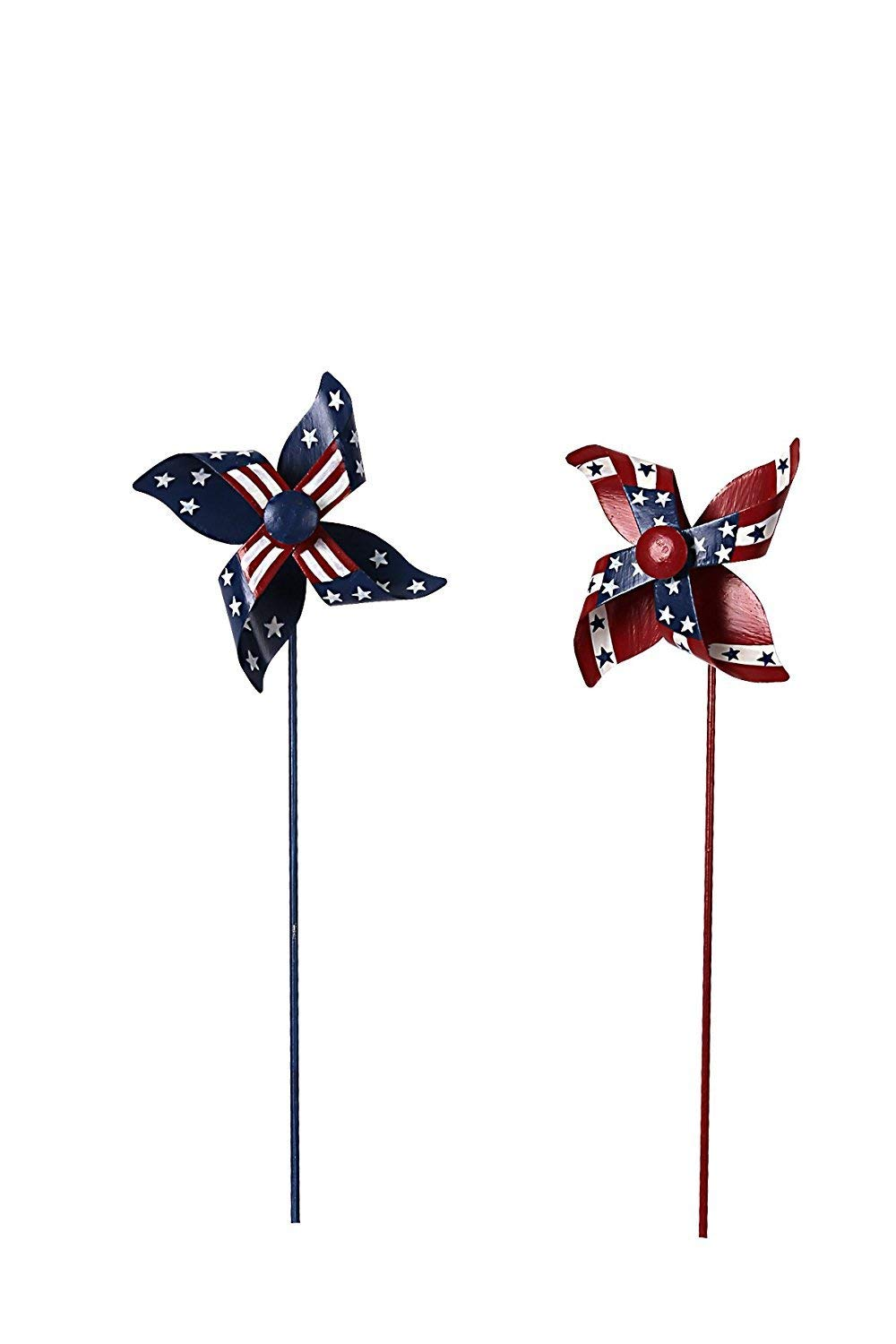 Waroom Home Patriotic Pinwheel Set of 2, American Flag Metal Wind Spinner for 4th of July Decoration, Stars and Stripes, Red White and Blue (S)