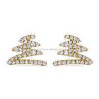 18k yellow gold earrings crystal stud earring fancy earring sterling silver