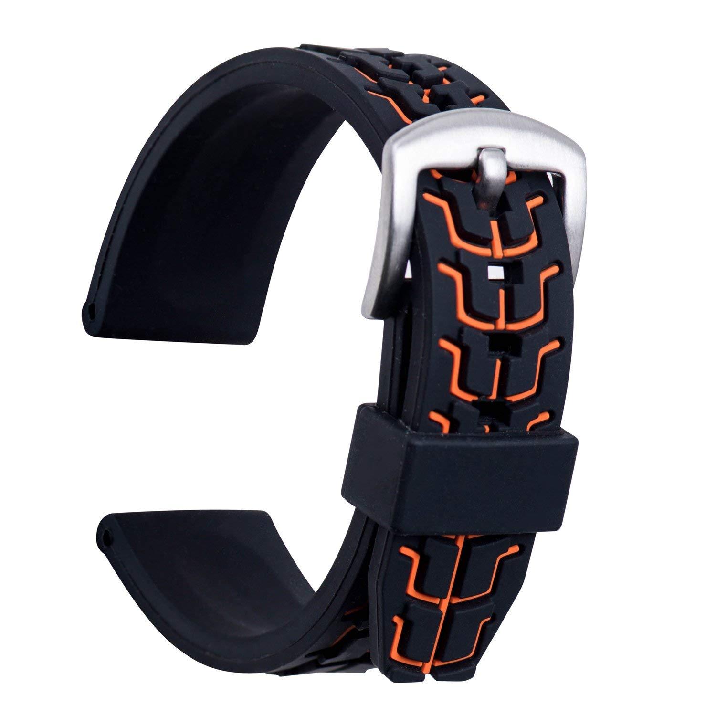 Ullchro Silicone Watch Strap Rubber Watch Band Waterproof Textured Men Women - 20mm, 22mm, 24mm