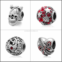 Fashion Jewelry sterling silver 925 round rhinestone charms wholesale For Bracelet DIY