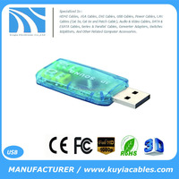 KUYIA External USB 2.0 to 3D Virtual Audio Sound Card Adapter Converter 5.1 Channel for Computer Laptop Tablet PC NoteBook