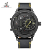 WEIDE Universe 3 Time Zones Watch Men Sport Water Resistant 3ATM Quartz Original Leather Strap Men's Watches