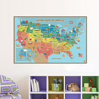 colorful animal united states world map wall decal stickers home decor diy kids bedroom decoration