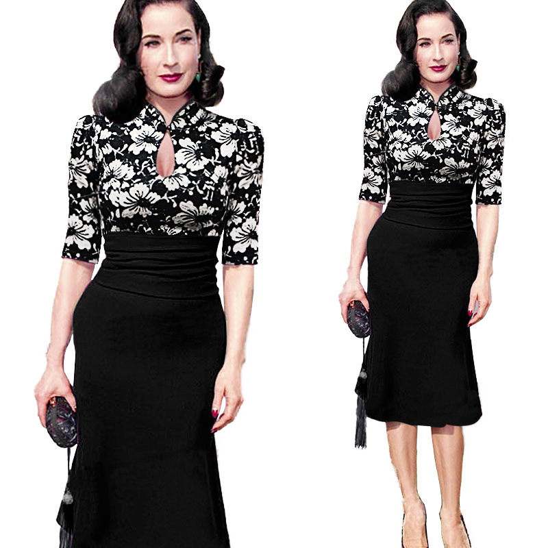 c41ec6804a5 Get Quotations · 2015 Autumn Plus size women work dresses knee length black  trumpet dress patchwork Bodycon Pencil Dress